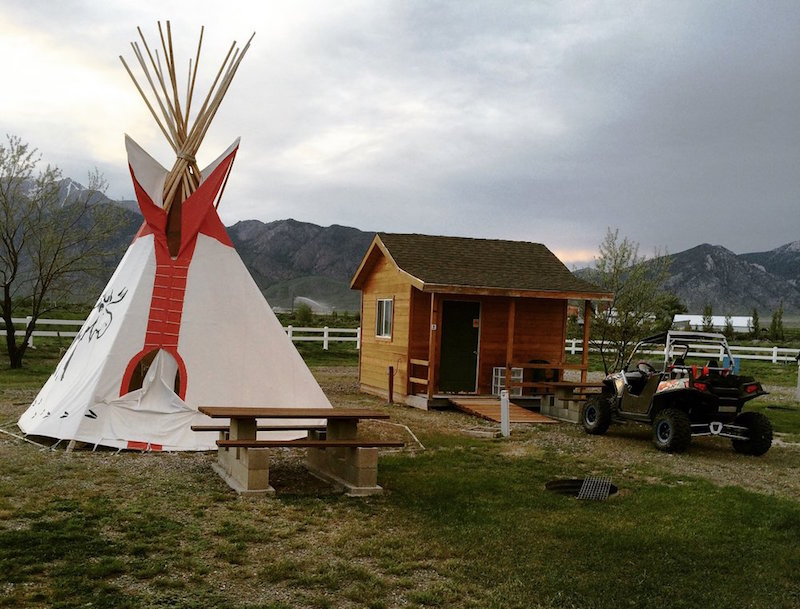 Cabins and tipi at Moose Crossing RV Park